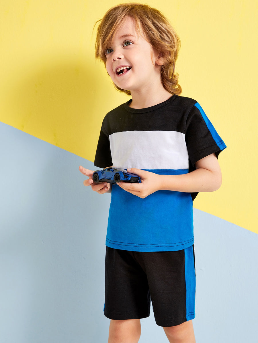 Toddler Boys Cut And Sew Tee & Shorts - QAS KIDS TORE