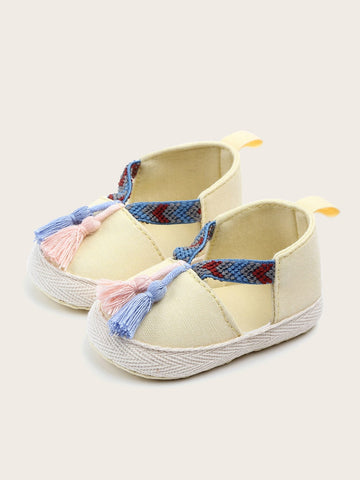 Baby Girls Tassel Decor Flats - QAS KIDS TORE