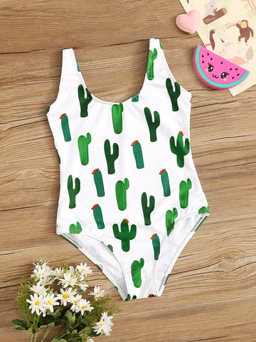 Girls Random Cactus Print One Piece Swimsuit - QAS KIDS TORE