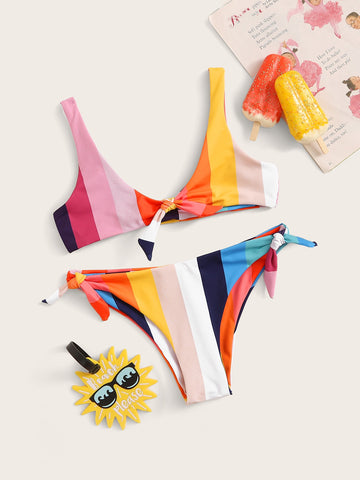 Girls Striped Knot Top With Tie Side Bikini Set - QAS KIDS TORE