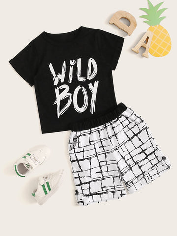 Toddler Boys Letter Print Tee With Plaid Print Shorts - QAS KIDS TORE