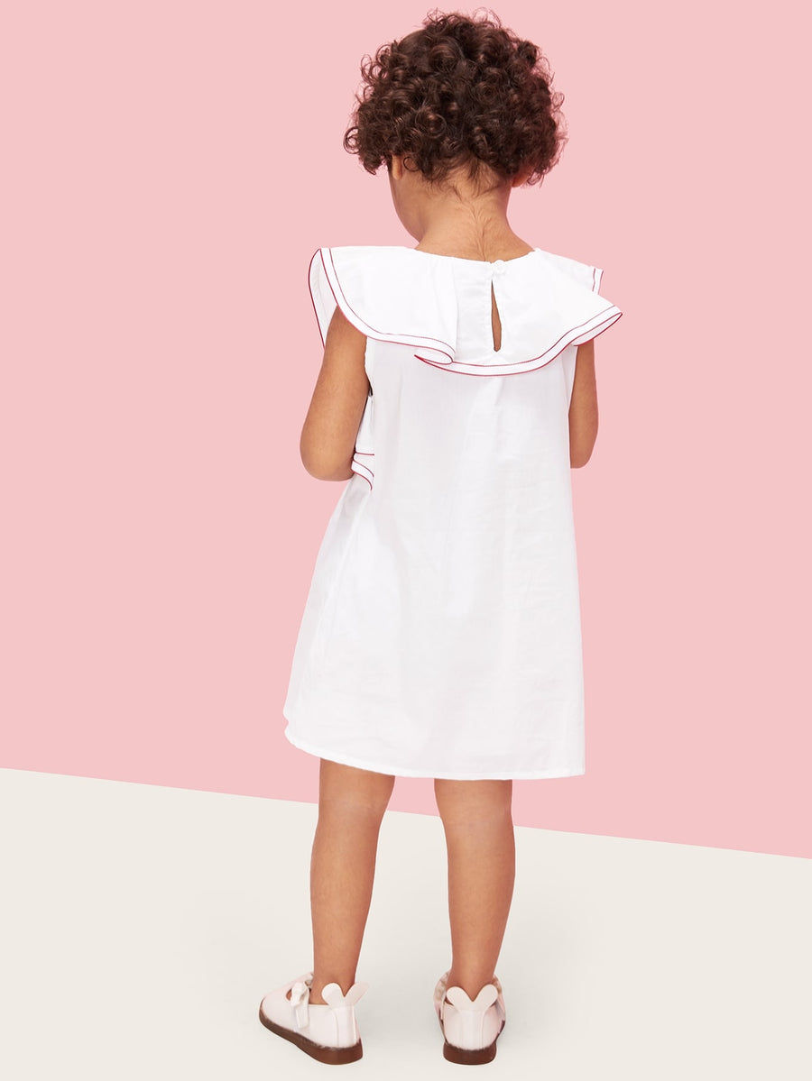 Toddler Girls Contrast Stitch Ruffle Trim Dress - QAS KIDS TORE