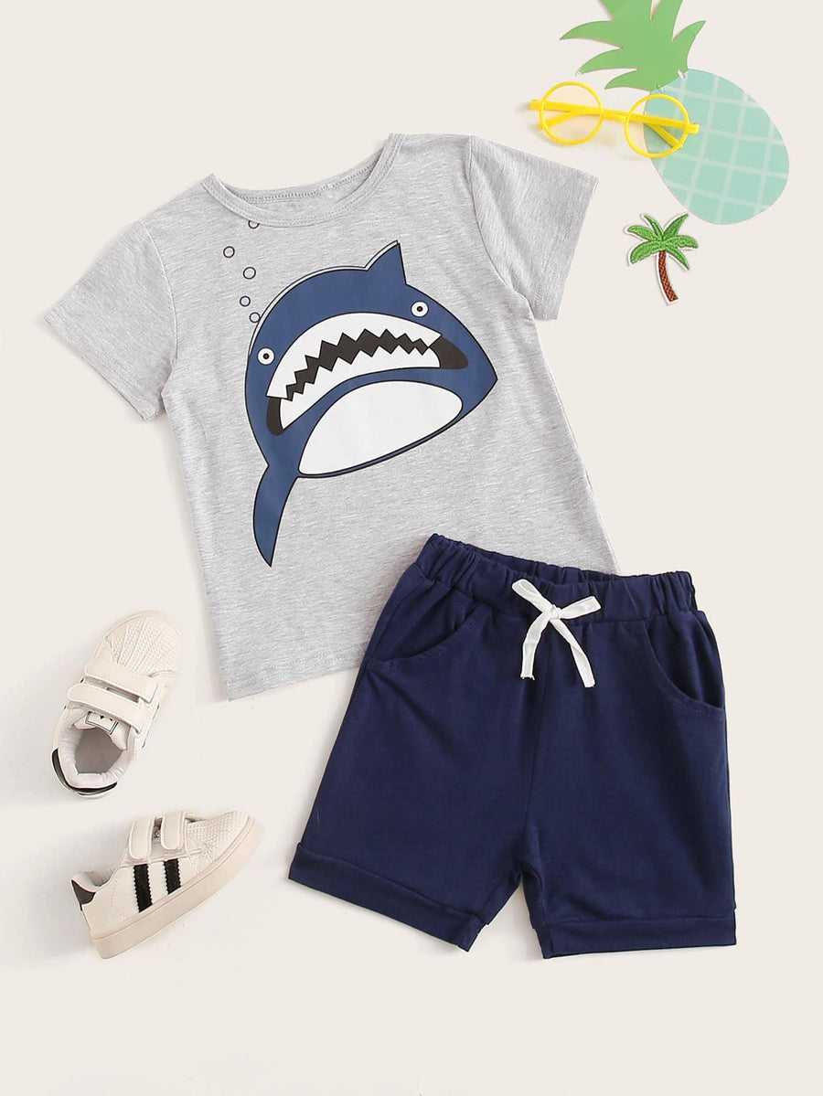 Toddler Boys Cartoon Print Tee With Drawstring Waist Shorts - QAS KIDS TORE