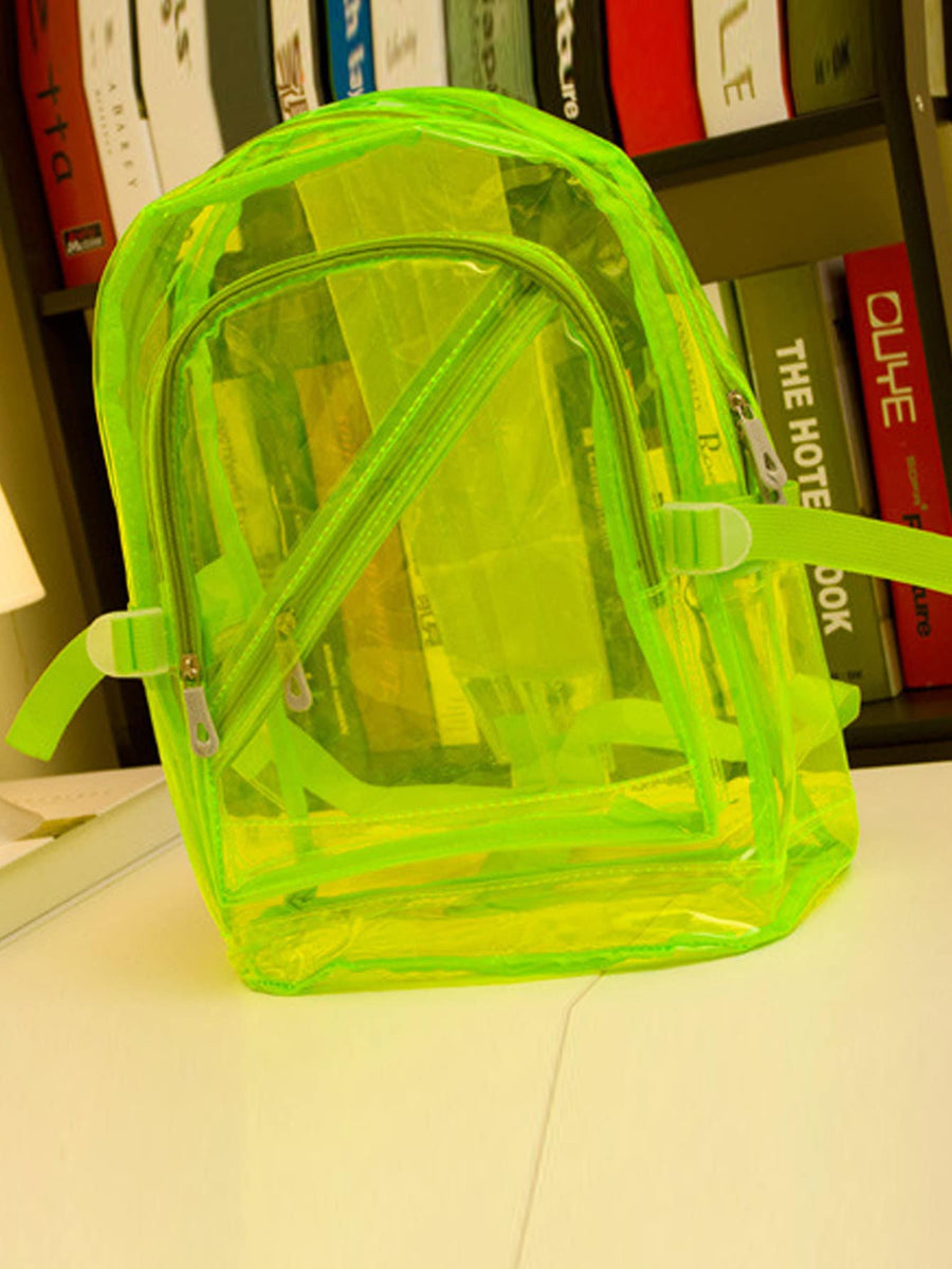 Kids Neon Lime Zip Front Backpack - QAS KIDS TORE
