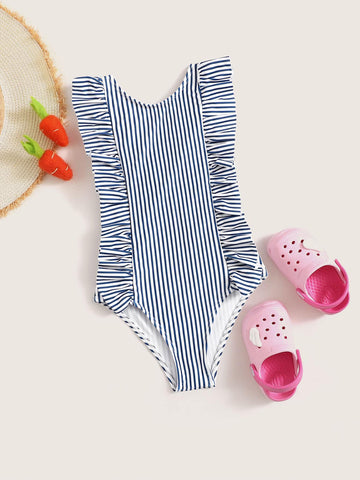 Toddler Girls Ruffle Trim Striped One Piece Swim - QAS KIDS TORE