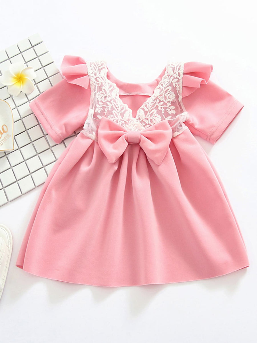 Toddler Girls Contrast Lace Bow A-line Dress - QAS KIDS TORE