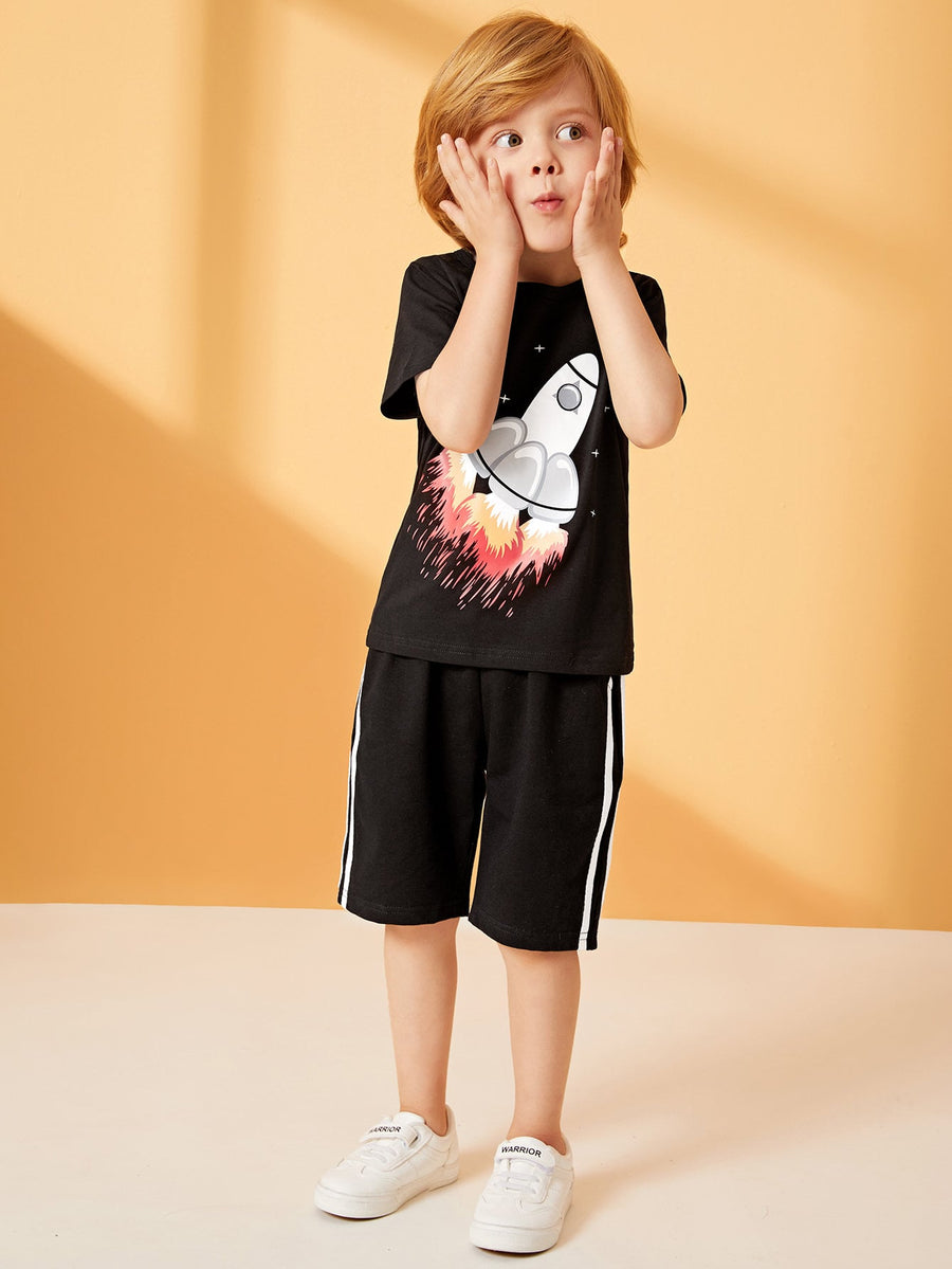 Toddler Boys Rocket Print Tee With Side Stripe Shorts - QAS KIDS TORE