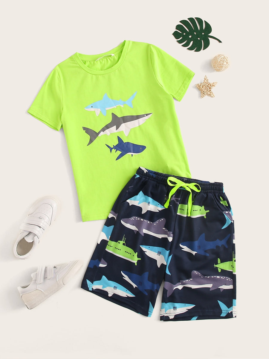 Boys Neon Lime Shark Print Top & Shorts Set - QAS KIDS TORE