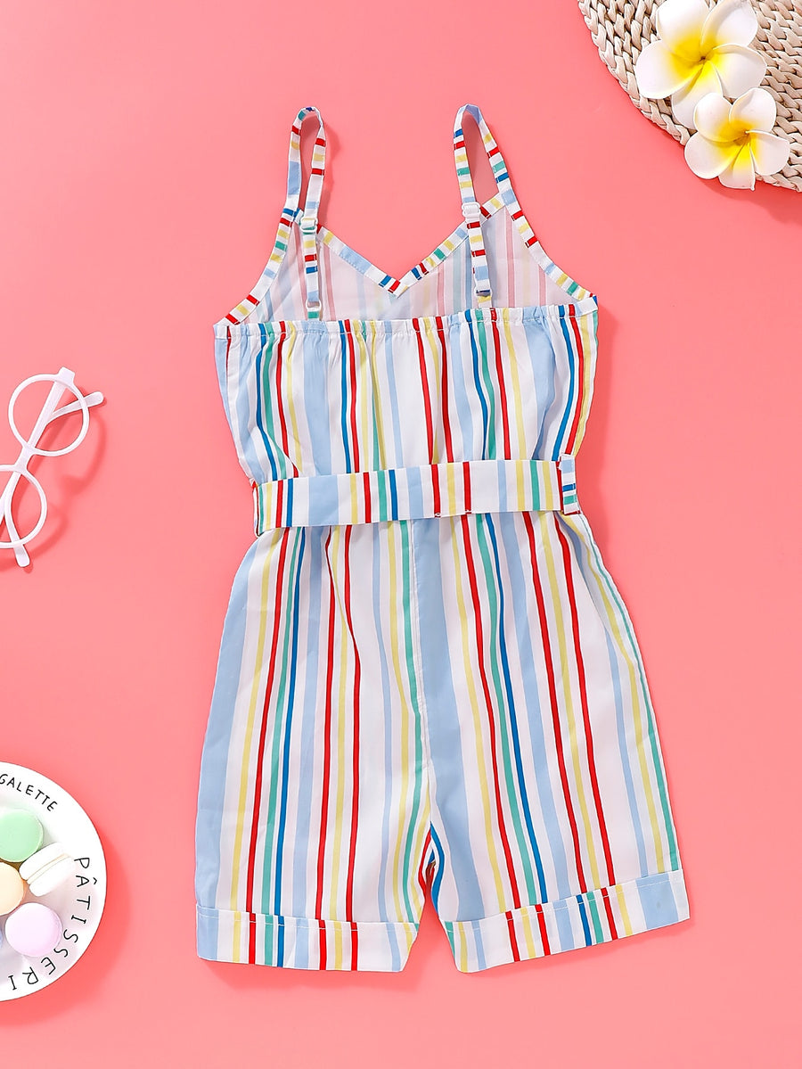 Toddler Girls Colorful Striped Belted Cami Romper - QAS KIDS TORE