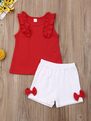 Toddler Girls Frill Tank Top & Bow Side Shorts - QAS KID  STORE