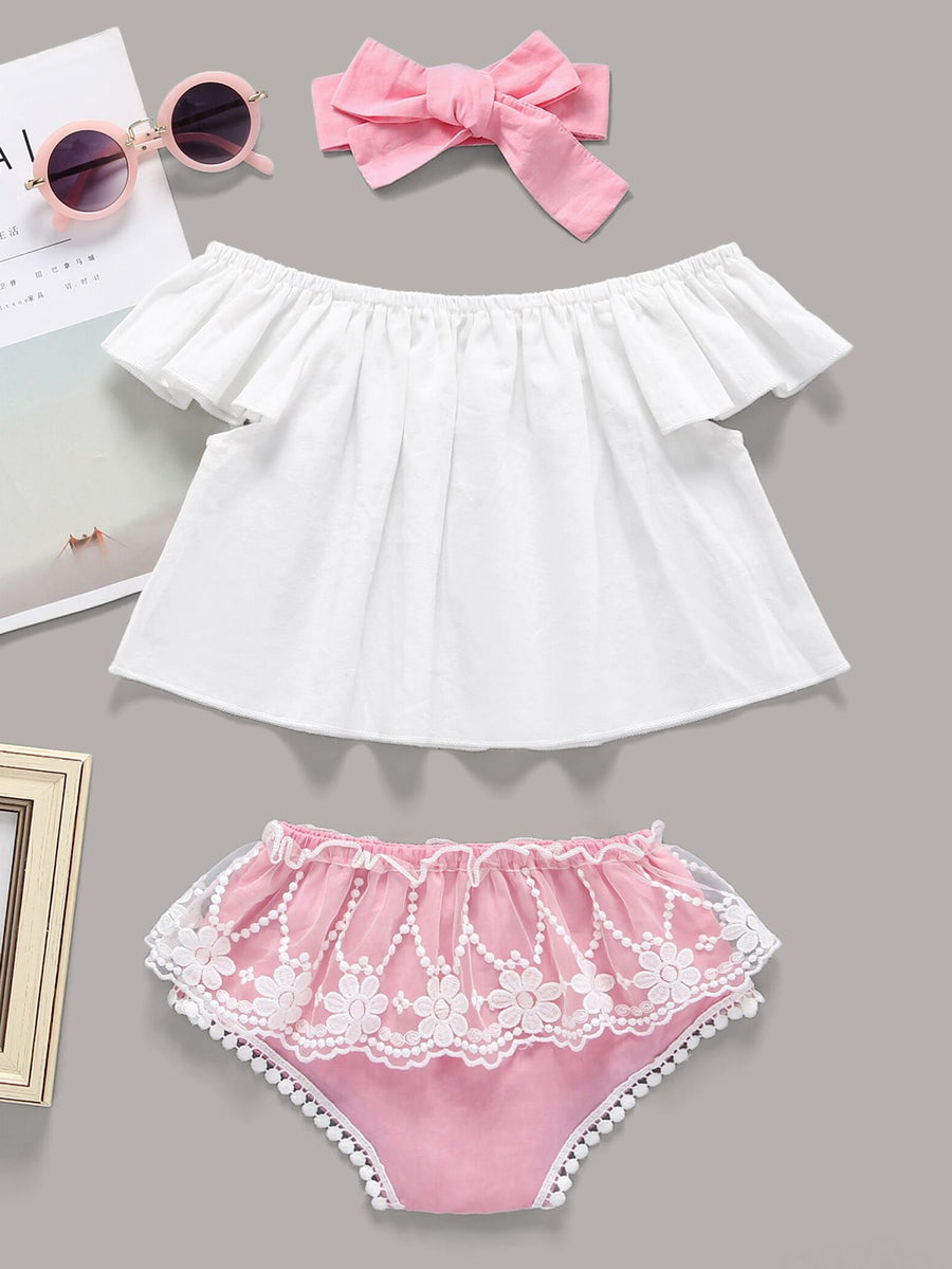 Baby Flare Top & Contrast Lace Shorts & Headband - QAS KIDS TORE