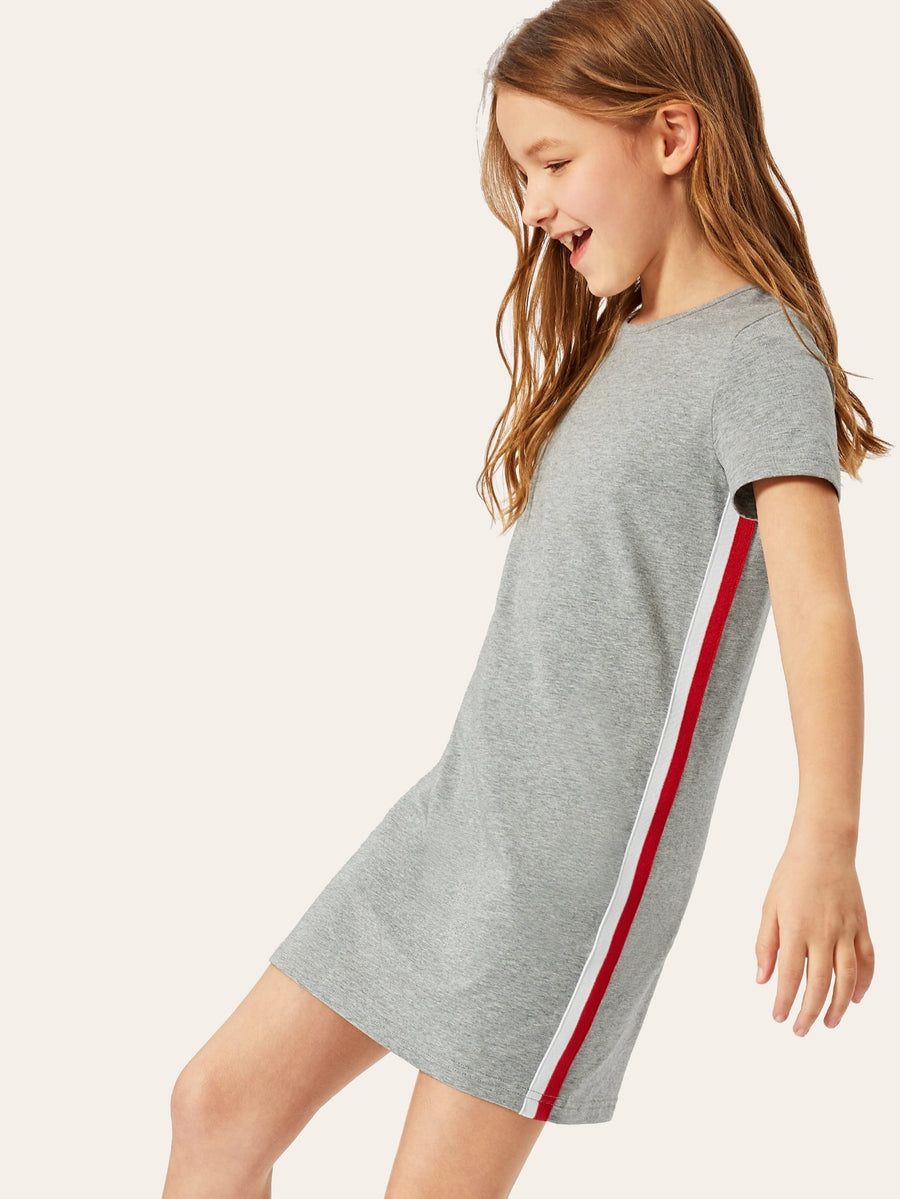 Girls Stripe Tape Heather Gray Dress - QAS KIDS TORE