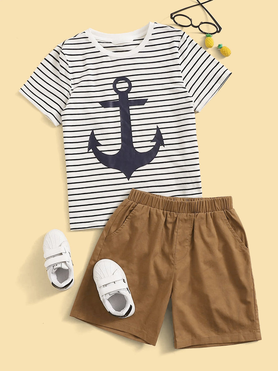 Boys Anchor Print Striped Tee & Shorts Set - QAS KIDS TORE