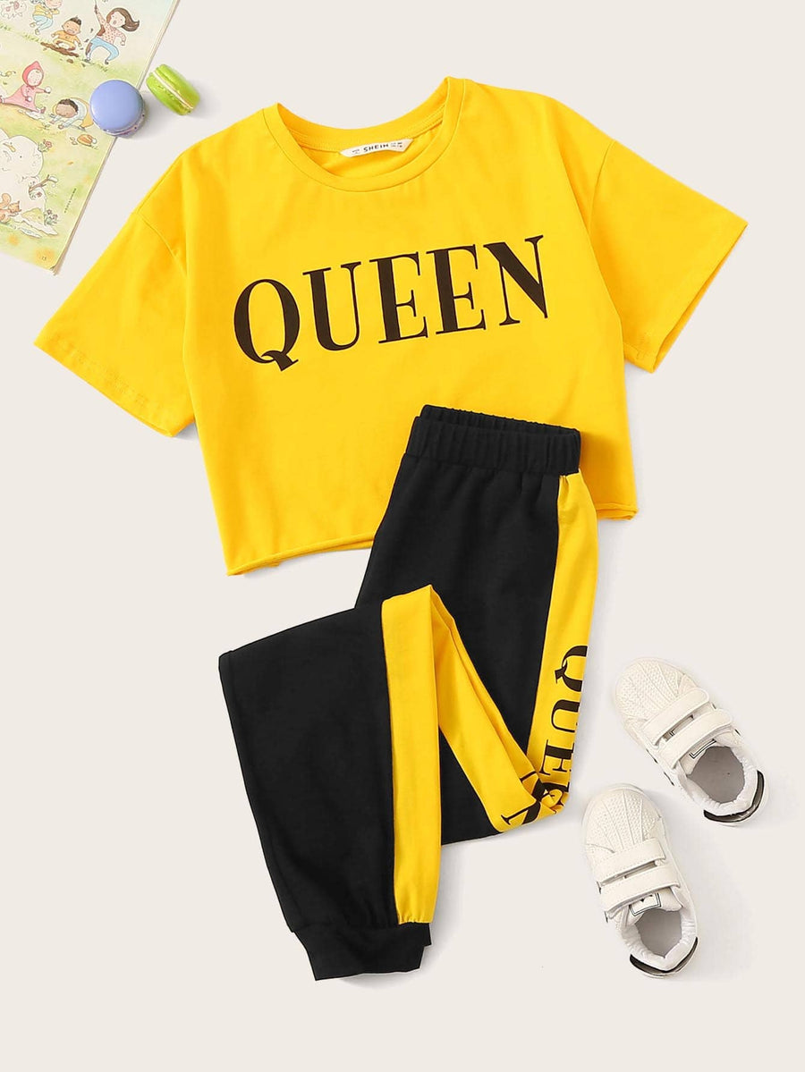 Girls Letter Print Top & Contrast Side Sweatpants Set - QAS KIDS TORE