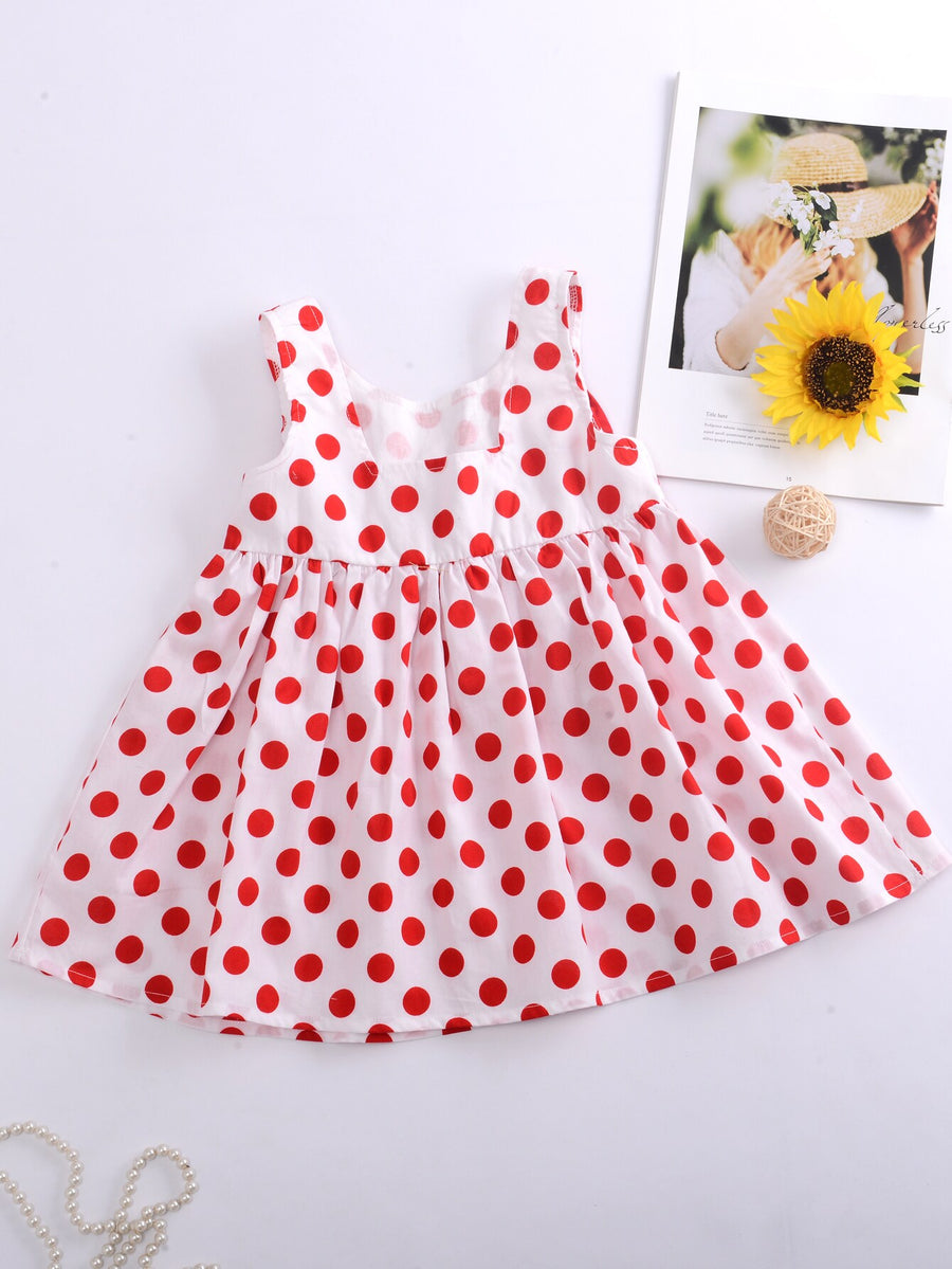 Toddler Girls Big Bow Polka Dot Smock Dress - QAS KIDS TORE