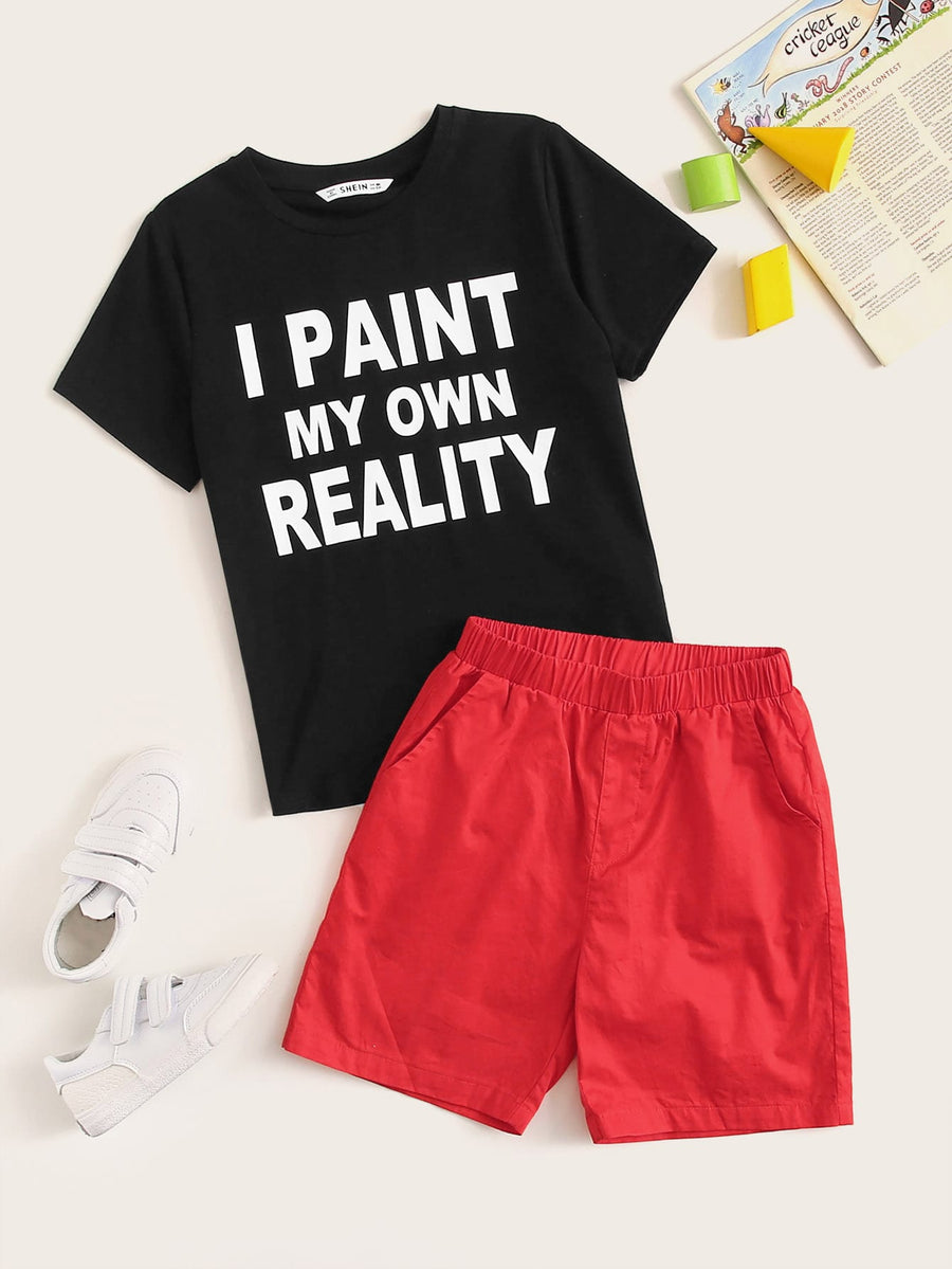 Boys Slogan Print Tee & Solid Shorts Set - QAS KIDS TORE