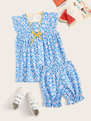 Toddler Girls Daisy Floral Smock Dress With Frill Shorts - QAS KID  STORE