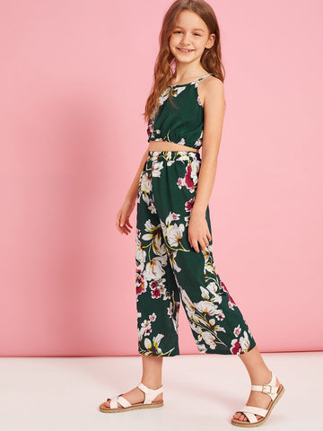 Girls Floral Print Cami and Wide Leg Pants Set - QAS KIDS TORE
