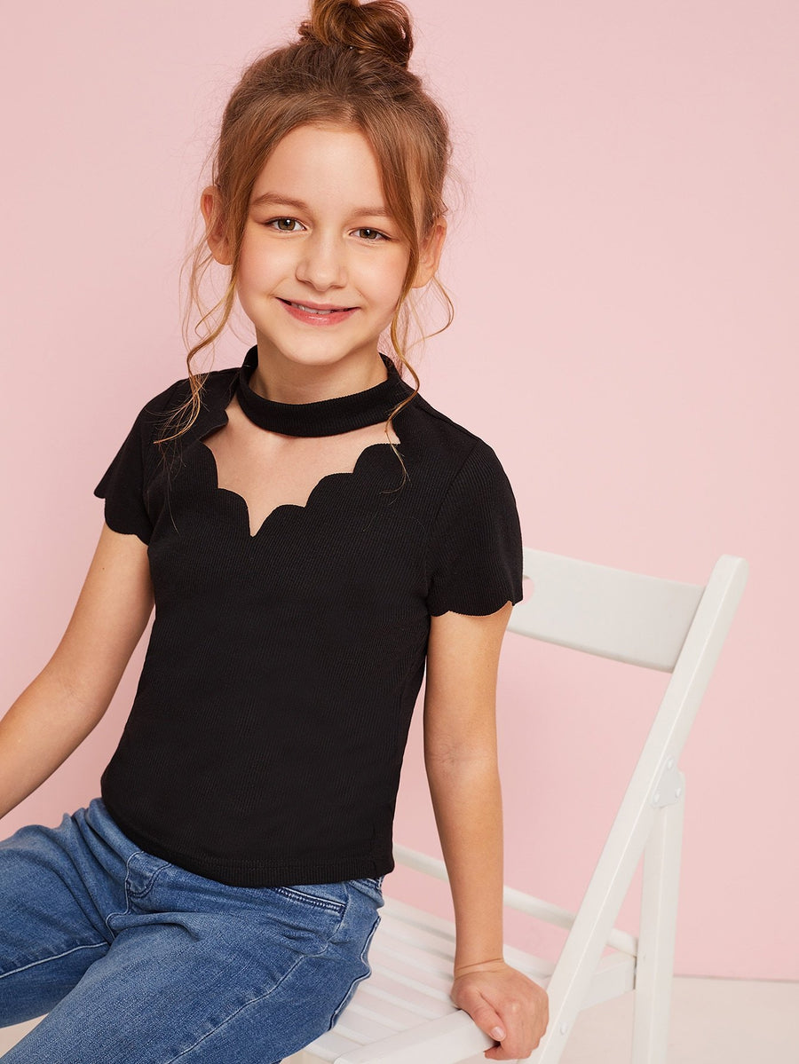 Girls Scalloped Choker Neck Ribbed Tee - QAS KIDS TORE