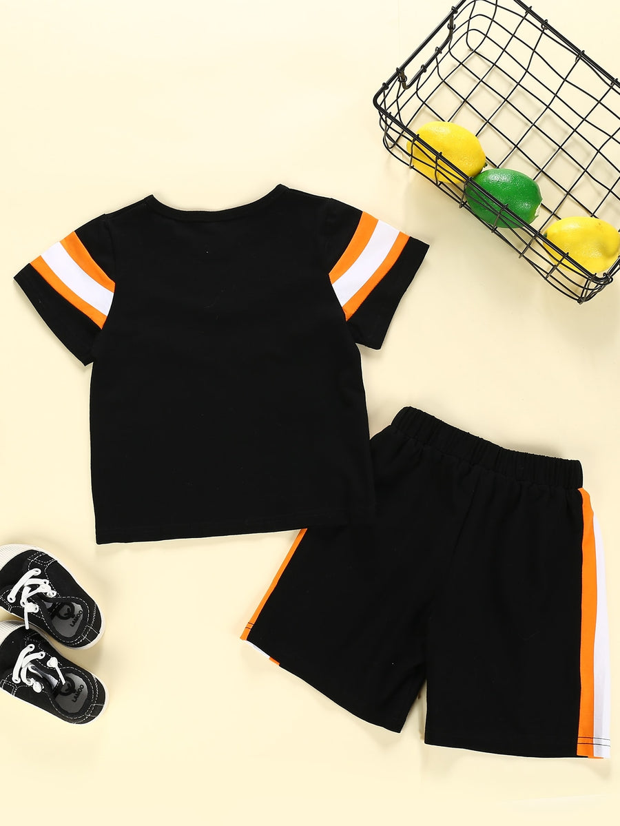 Toddler Boys Contrast Chevron Panel Tee With Side Stripe Shorts - QAS KIDS TORE