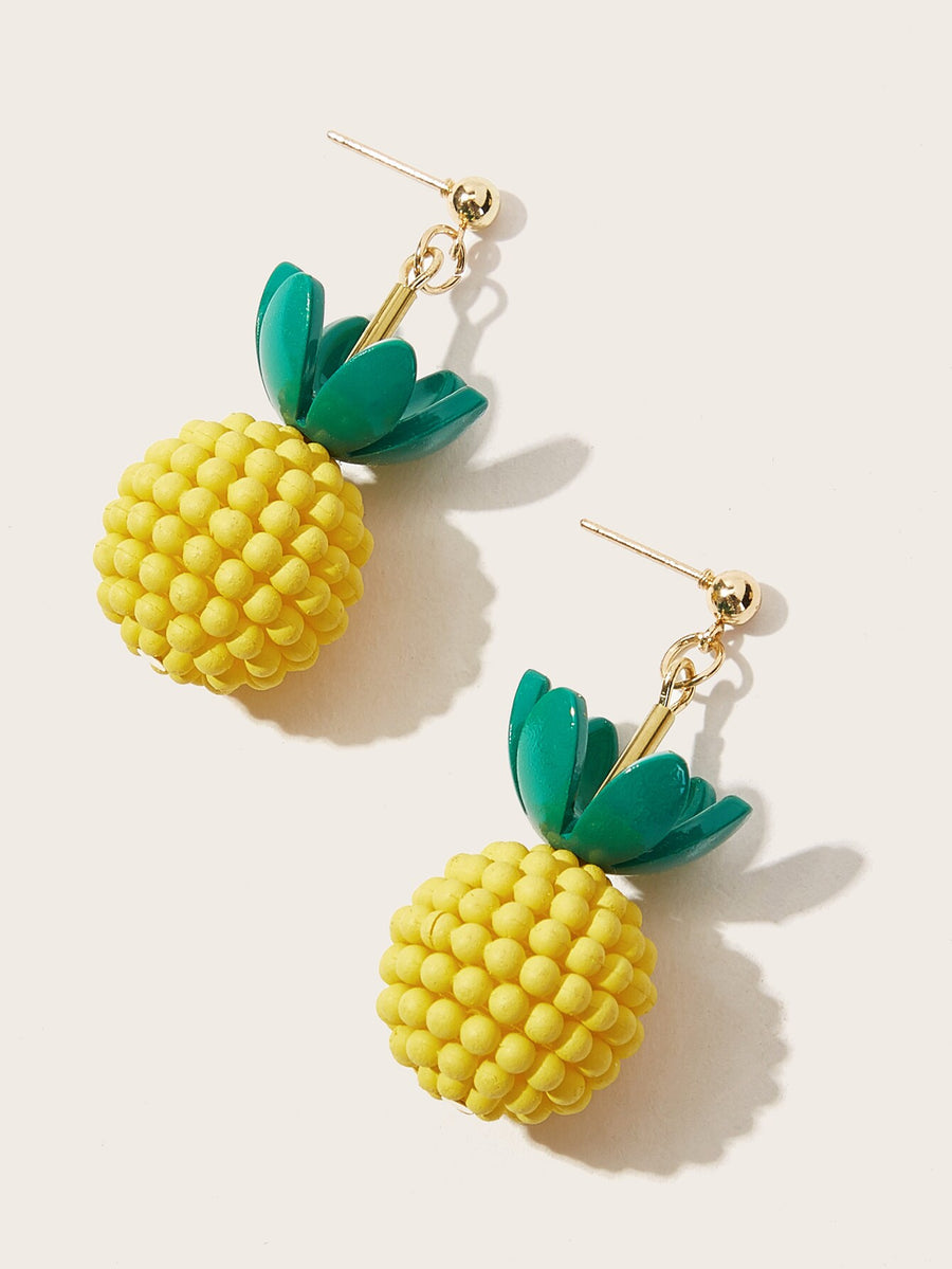 Girls Pineapple Drop Earrings 1pair - QAS KIDS TORE
