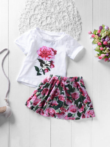 Toddler Girls Rose Print Tee With Skirt - QAS KIDS TORE