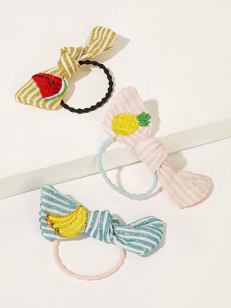 Girls Fruit Embroider Bow Knot Hiar Tie 3pcs - QAS KIDS TORE