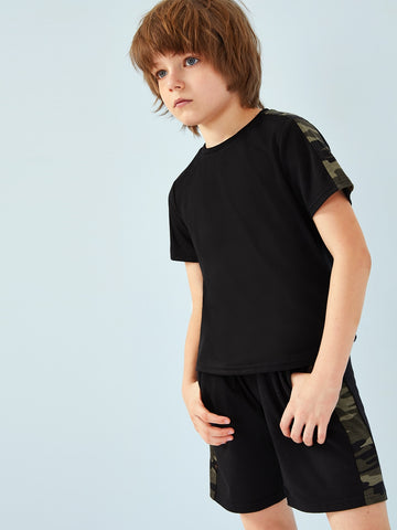 Boys Camo Panel Tee & Drawstring Waist Shorts Set - QAS KID  STORE
