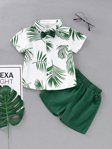Toddler Boys Bow Tie Leaf Print Shirt With Shorts - QAS KIDS TORE