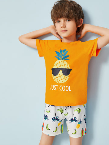 Boys Graphic Print Top & Mixed Print Shorts Set - QAS KID  STORE