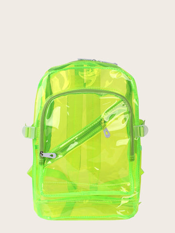 Kids Neon Lime Zip Front Backpack - QAS KID  STORE