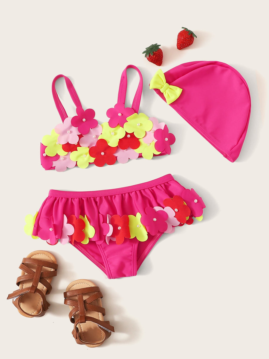 Toddler Girls Appliques Ruffle Bikini Set With Hat - QAS KIDS TORE