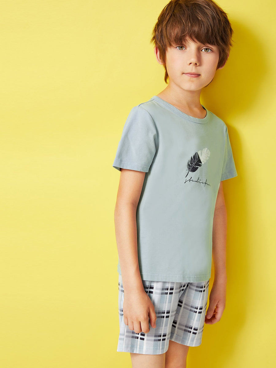 Boys Feather Print Top & Plaid Shorts PJ Set - QAS KIDS TORE