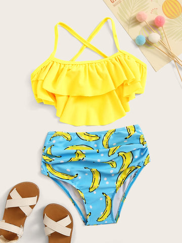 Toddler Girls Random Banana Print Layered Ruffle Bikini - QAS KIDS TORE