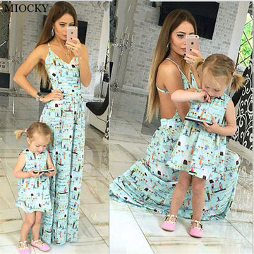 Mother daughter dresses Sleeveless - QAS KID  STORE