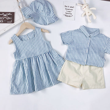 Family Matching Clothes Summer Toddler Girls Dress Sister Brother - QAS KIDS TORE