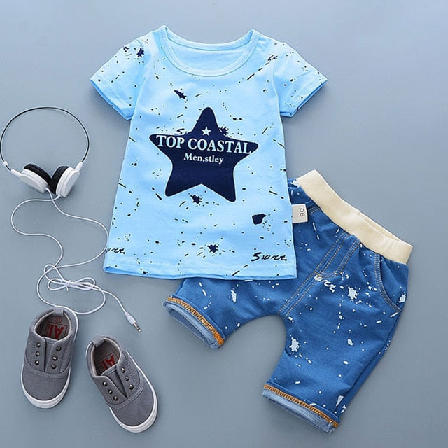 Cartoon Cotton Summer Clothing Sets for Newborn Baby Boy Infant Fashion Outerwear Clothes Suit T-shirt+Pant Suit baby Boy Cloth - QAS KIDS TORE