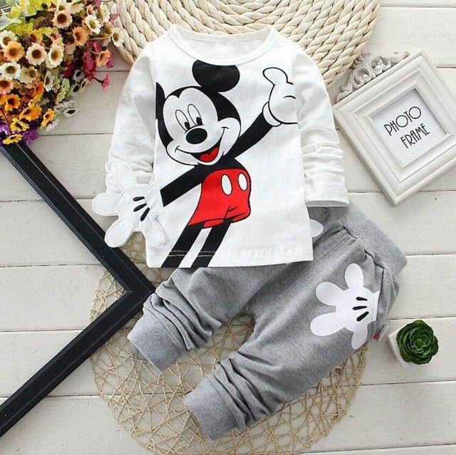 Cartoon Leisure Long Sleeved T-shirts + Pants - QAS KIDS TORE