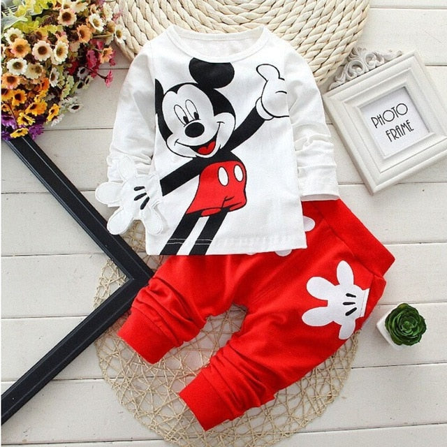 Cartoon Leisure Long Sleeved T-shirts + Pants - QAS KID  STORE