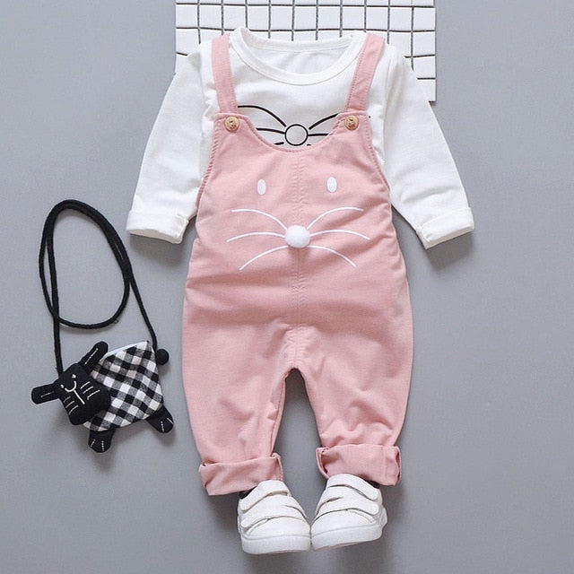 T-shirt + pants suit baby girls outside wear - QAS KID  STORE