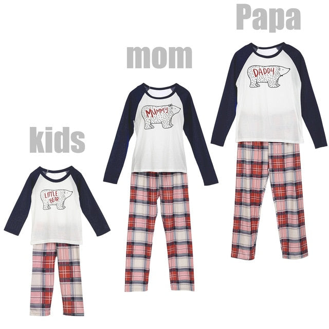 Cute Christmas Family Matching Pajamas Set Adult Women Kids Baby Bear Cartoon Plais Pants Casual Xmas Sleepwear Nightwear - QAS KID  STORE