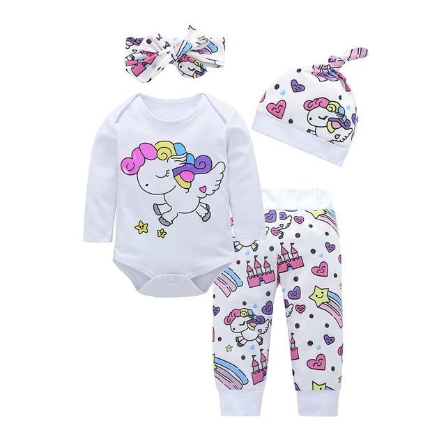 Unicorn Pegasus Star Heart Castle Tops+Pants+Hat+Headband - QAS KIDS TORE