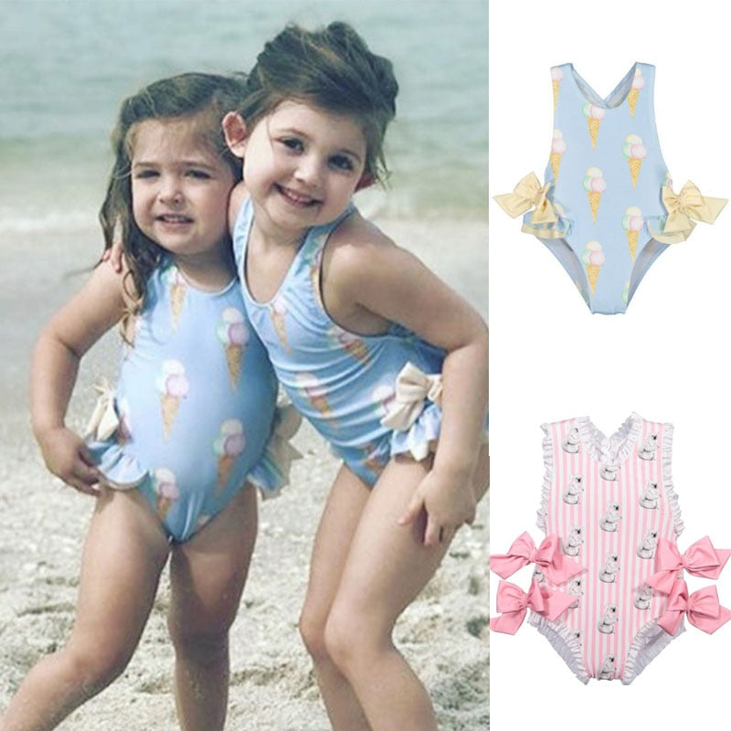 2019 Baby Girls Beautiful Swimming Wear Suits Lovely Flamingo Ice cream Bear Print Swimsuits Brand Design Child Fashion Swimwear - QAS KIDS TORE