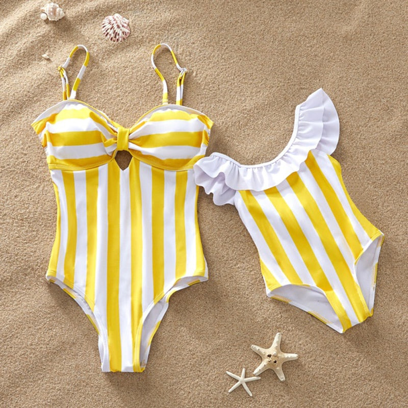 Striped Mother Daughter Swimwear One-Piece Mommy and Me Swimsuit Family Look Matching Outfits Mom Mum Daughter Dresses Clothes - QAS KIDS TORE