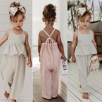Kids Baby Girls Overalls Sleeveless Backless Romper Toddler Girl Jumpsuit Wide Leg Pants Trousers Girls Summer Clothes - QAS KID  STORE