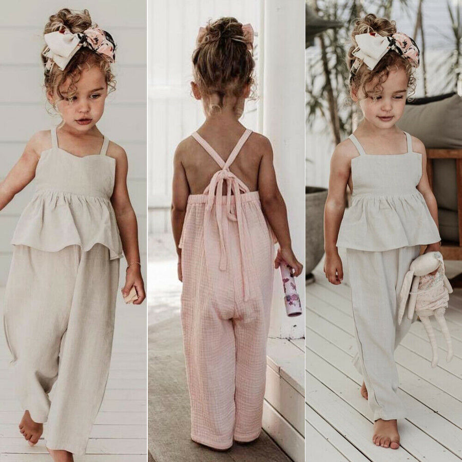 Kids Baby Girls Overalls Sleeveless Backless Romper Toddler Girl Jumpsuit Wide Leg Pants Trousers Girls Summer Clothes - QAS KIDS TORE
