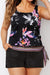 WINDFLOWER SIDE TIE BLOUSON TANKINI WITH CARGO SHORT - allconsort