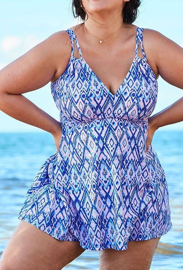 Diamond 2 Piece V-Neck Swimdress