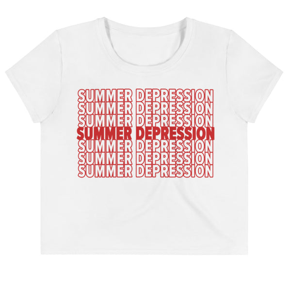 Summer Depression (Red Lettering) Tee - Women's - White Crop Tee