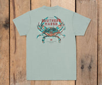 Southern Marsh Impressions Crab Tee - Burnt Sage